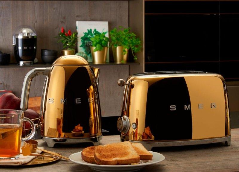 Electrodomésticos acabados en oro y oro rosa