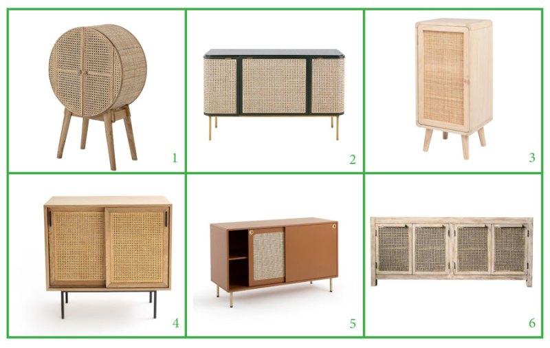 Muebles de rejilla para el comedor: armarios y aparadores