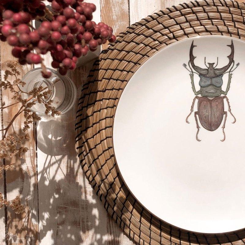 Platos decorados con insectos