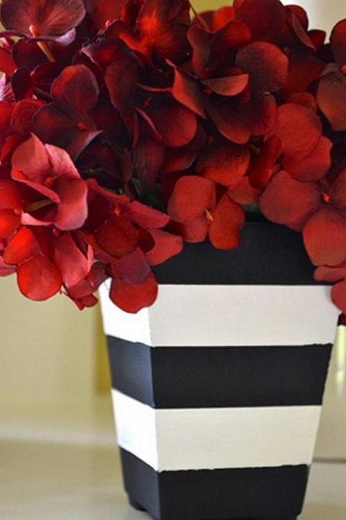 Modern Black And White Striped Vase Project By Decoart
