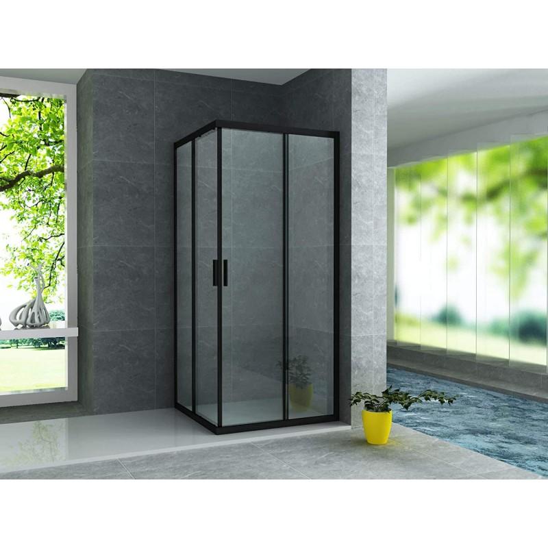 cabine de douche d angle avec porte coulissante noir aloni
