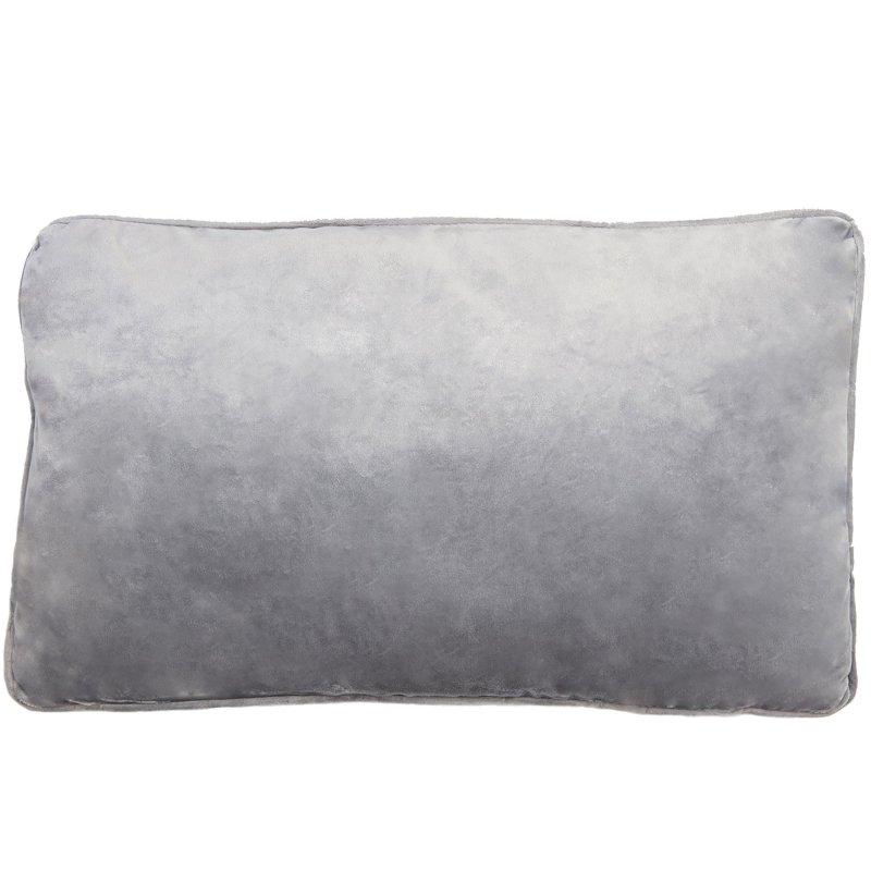 housse de coussin 30 x 50 cm effet velours dehoussable gris