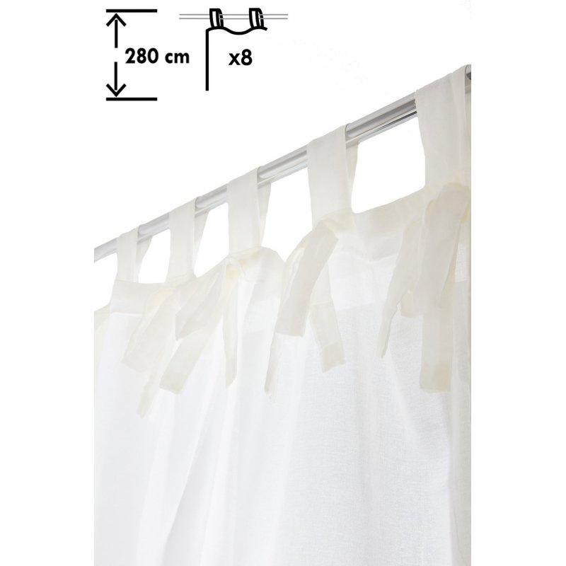 voilage 140 x 280 cm a pattes grande hauteur effet lin avec noeuds uni ecru