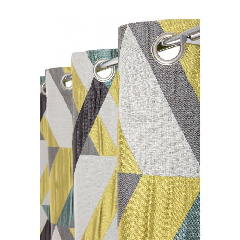 rideau tamisant 140 x 260 cm a oeillets jacquard poche motifs geometriques jaune