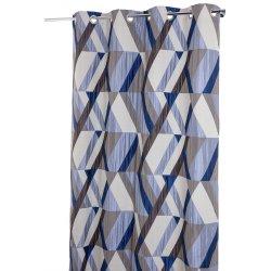rideau tamisant 140 x 260 cm a oeillets jacquard poche motifs geometriques bleu