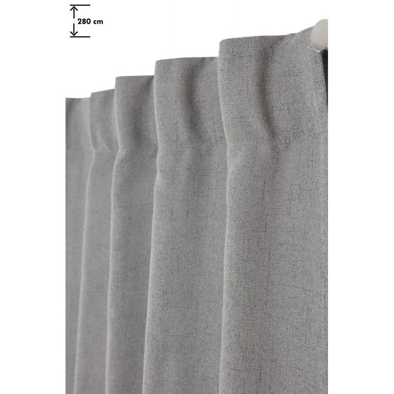 rideau tamisant 135 x 280 cm grande hauteur a galon fronceur pattes cachees chambray chine gris