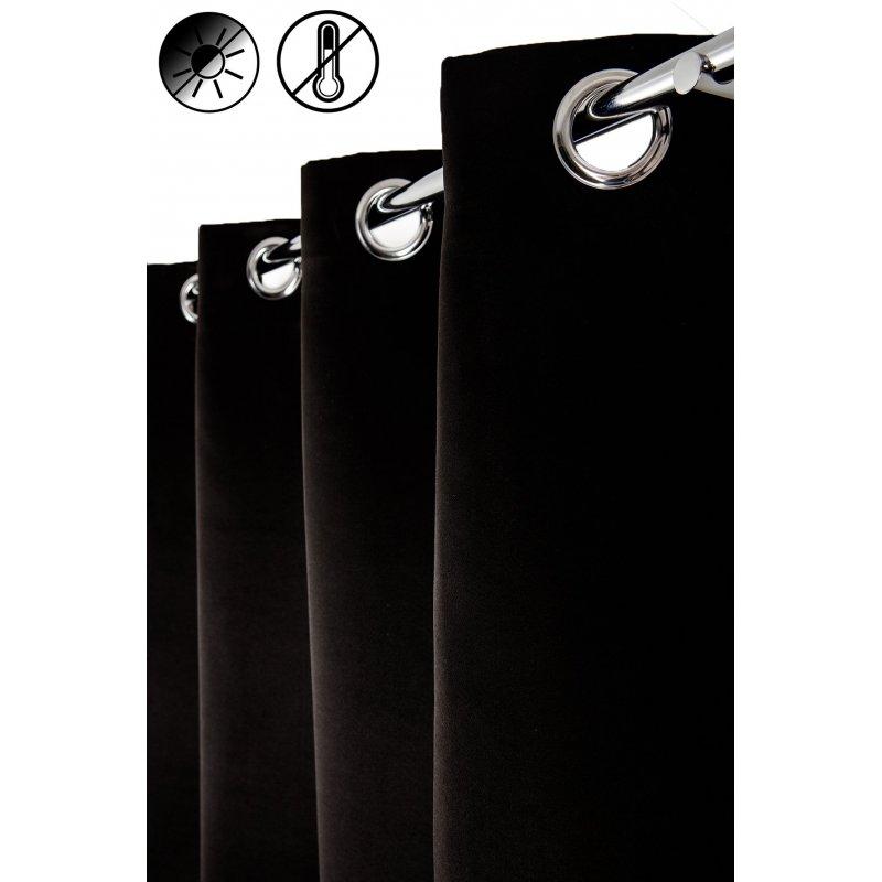 rideau occultant thermique 140 x 240 cm a oeillets uni noir