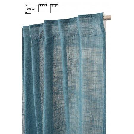 rideau tamisant 135 x 300 cm a galon fronceur et pattes cachees grande hauteur effet lin uni bleu petrole