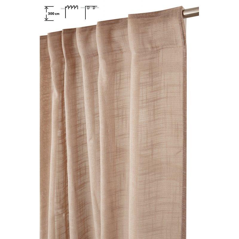 rideau tamisant 135 x 300 cm a galon fronceur et pattes cachees grande hauteur effet lin uni taupe