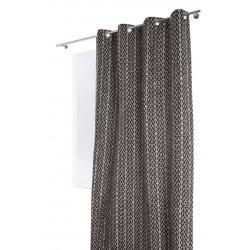 rideau 140 x 250 cm a oeillets relief effet laine style boheme bicolore noir