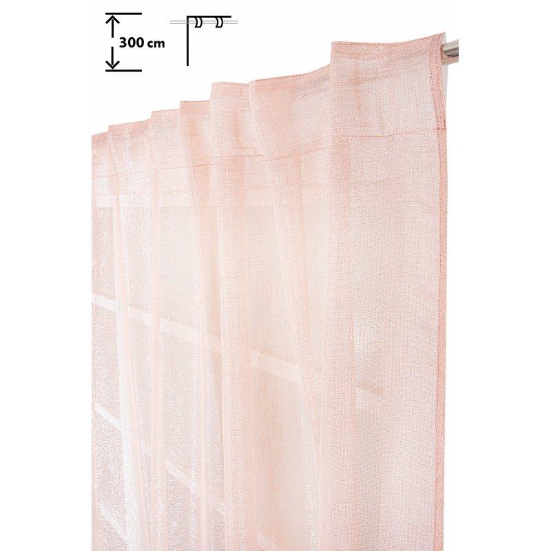 voilage 135 x 300 cm a galon fronceur pattes cachees grande hauteur fil lurex argente tisse rose clair