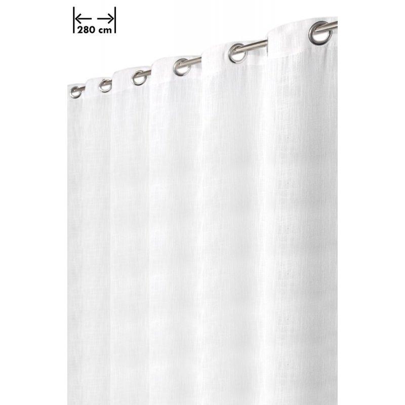 rideau 280 x 238 cm 14 oeillets aspect lin lourd grande largeur style rustique moderne blanc