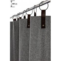 rideau 140 x 280 cm a anneaux grande hauteur contemporain style industriel feutrine gris