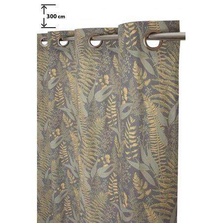 rideau tamisant 135 x 280 cm a oeillets grande hauteur polycoton recycle imprime motif vegetal vert