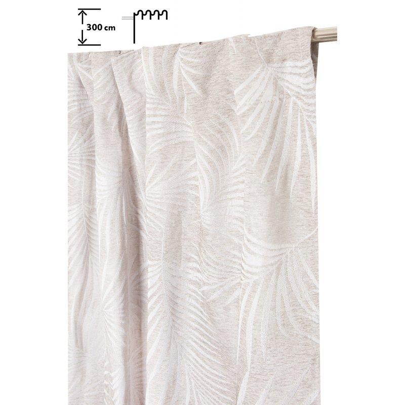 rideau tamisant 140 x 300 cm a galon fronceur pattes cachees grande hauteur jacquard chenille fil lurex argente palmes beige