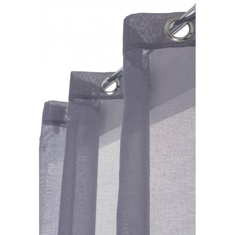 voilage 140 x 240 cm a oeillets mat classique simple uni bleu gris