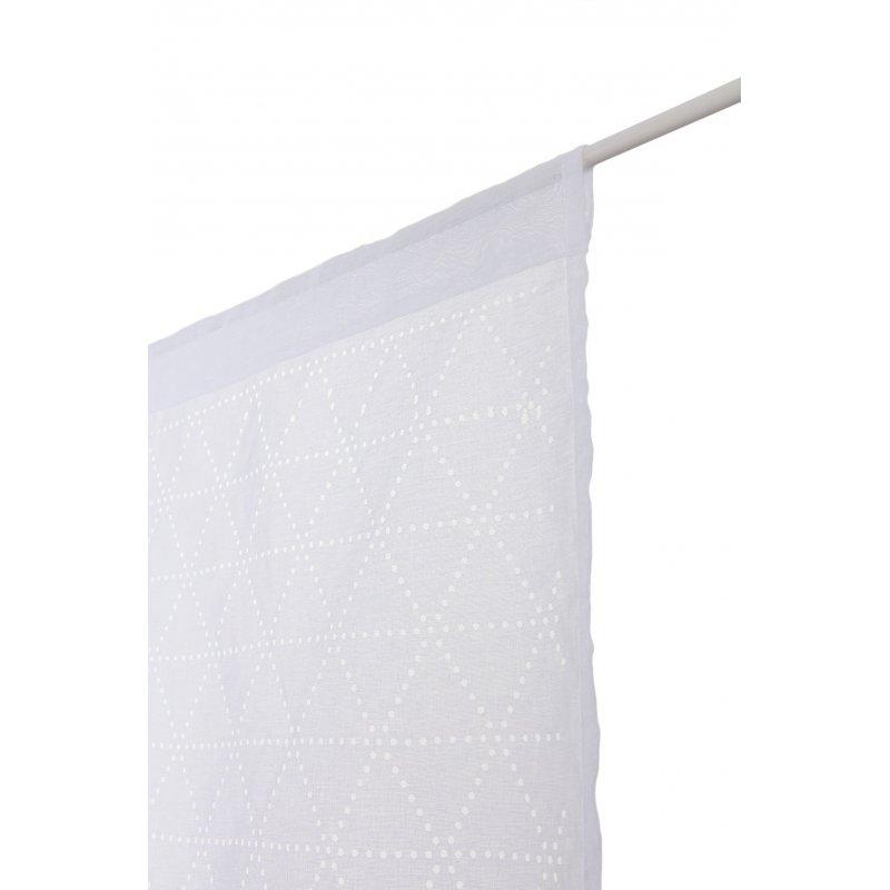 voilage 65 x 160 cm a passe tringle ajoure motif geometrique lasercut blanc