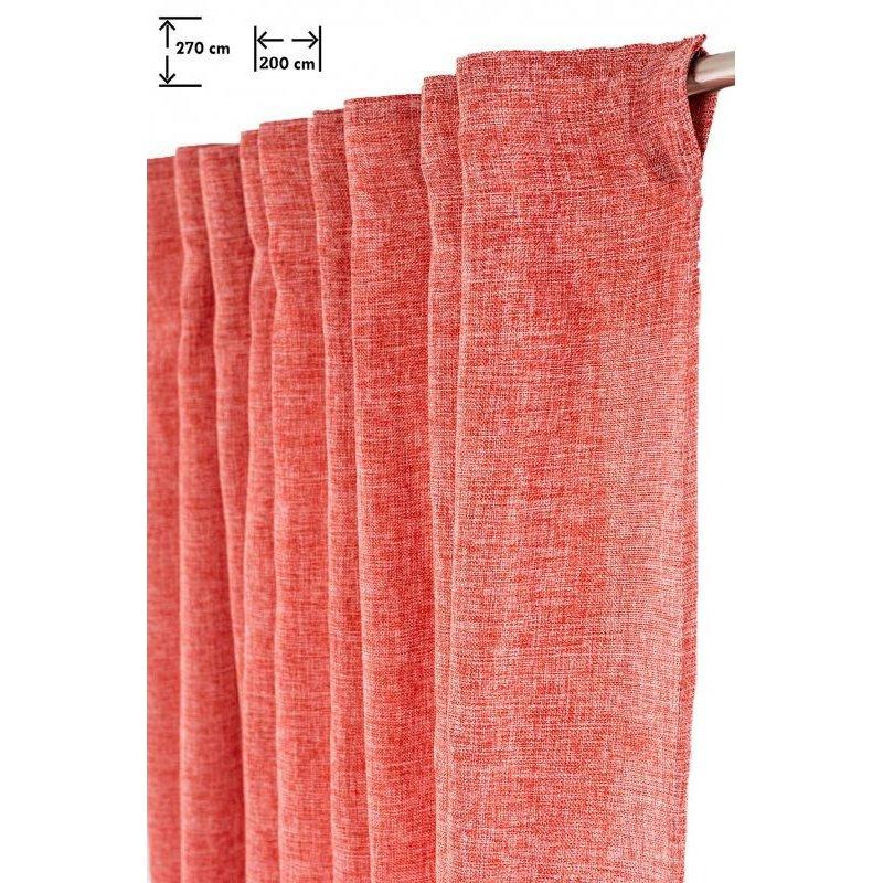 rideau grande largeur tamisant 200 x 270 cm galon fronceur chine rouge