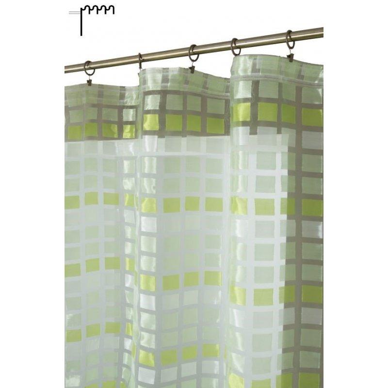 voilage 140 x 270 cm a galon fronceur brillant motif carreaux multicolores vert anis