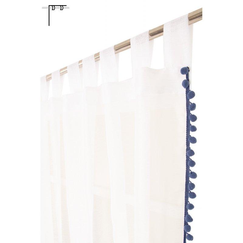 voilage 140 x 260 cm a pattes surpiqure bleue pompons style gipsy blanc