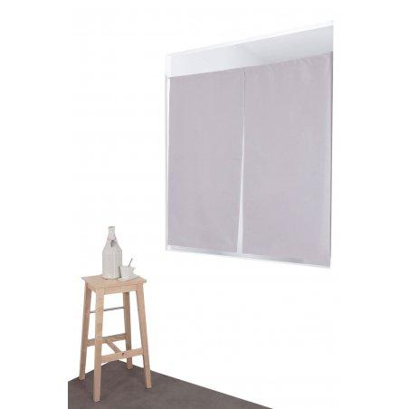paire de vitrages occultant 60 x 120 cm passe tringle uni gris galet