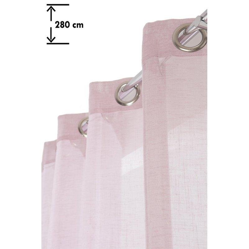 gardine leinenoptik 140 x 280 cm mit osen extra lang landhausstil vertikale streifen rosa