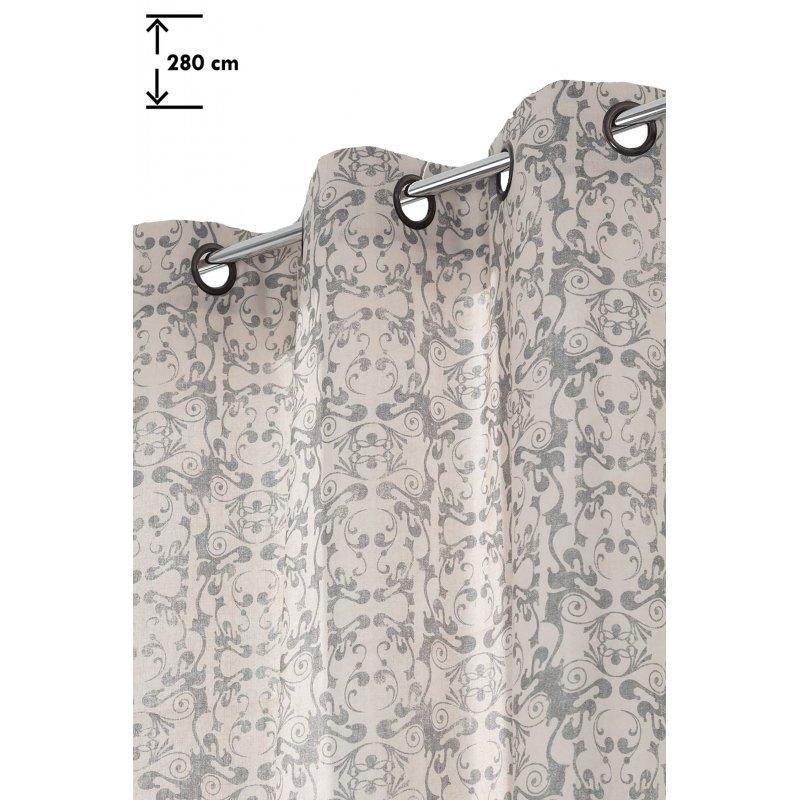 rideau vintage 138 x 280 cm grande hauteur a oeillets motif imprime arabesques anthracite