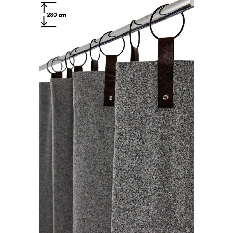 rideau contemporain 140 x 280 cm a 8 anneaux grande hauteur style industriel feutrine gris