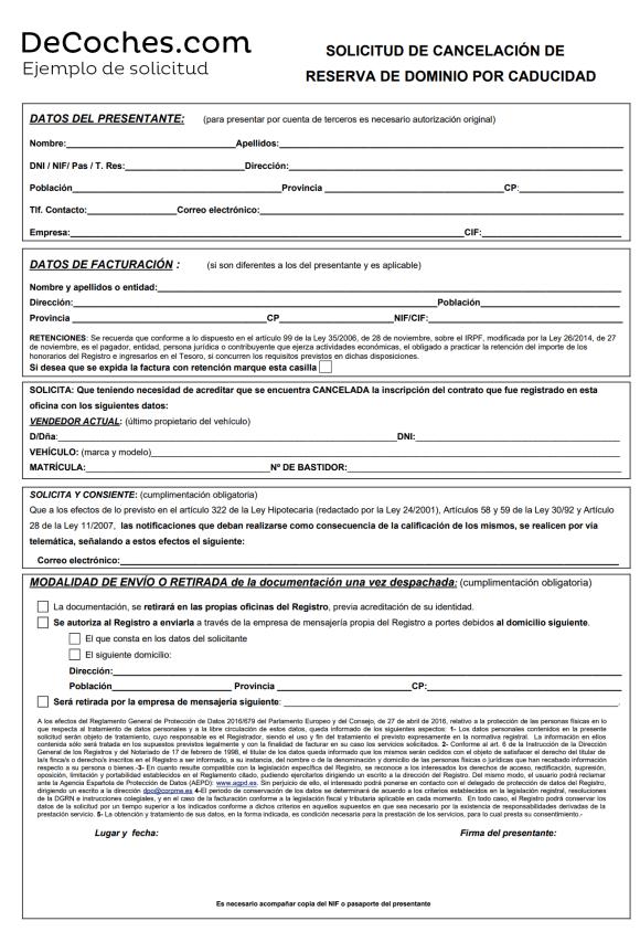Impreso de modelo solicitud cancelación reserva de dominio coche