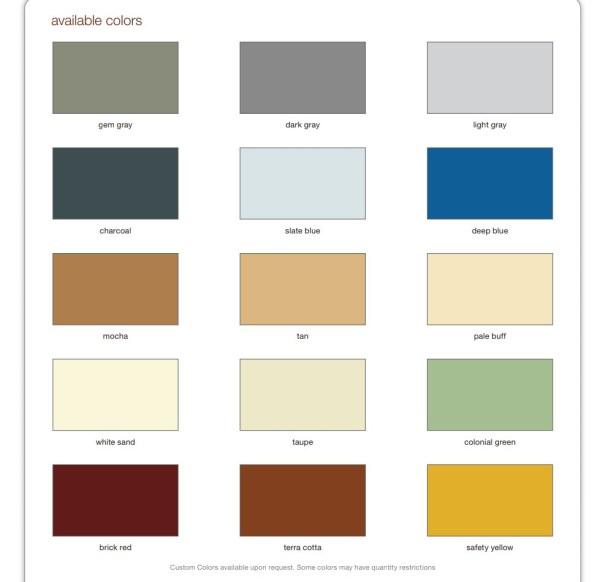 Decorative Concrete Services Pigmented Epoxy Color Chart