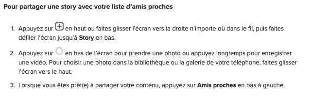 """Comment poster une """"Story"""" pour mes """"Close Friends"""""""