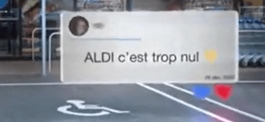 Tweet issue de la pub d'Aldi répondant à leur consommateur