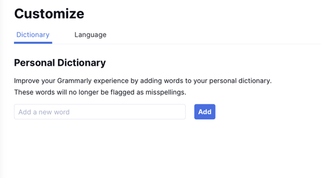 Sur ce correcteur efficace en anglais, tu disposes d'un dictionnaire personnalisé.