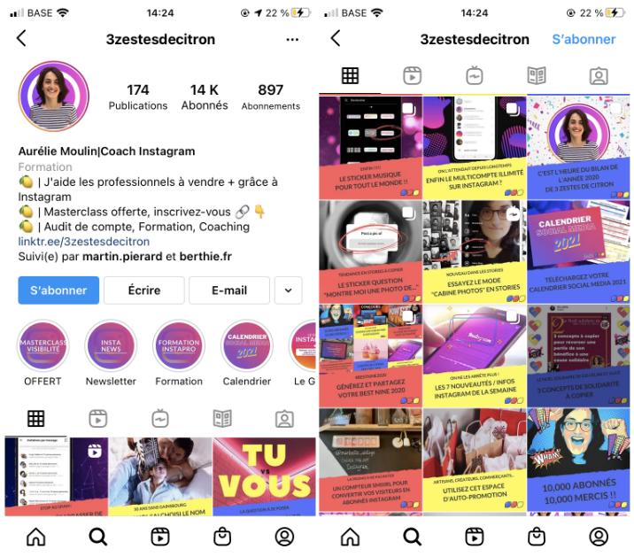Capture d'écran Instagram de 3zestesdecitron. Conseils de communication digitale.