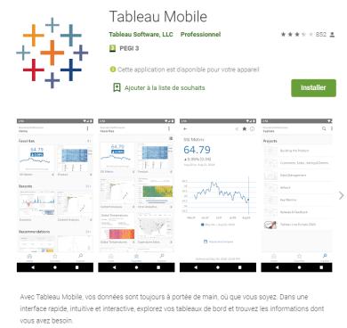 L`application Tableau online pour accéder à tout moment aux tableaux de bord