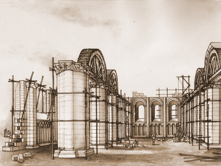 La reconstruction de l'église romane
