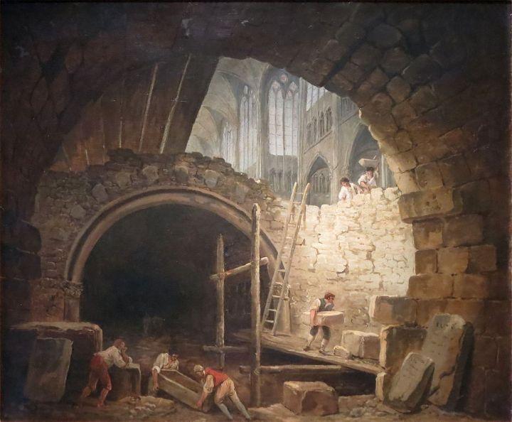 La violation des caveaux des rois dans la basilique de Saint-Denis en octobre 1793, peinture de Hubert Robert