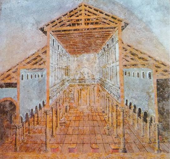 L'ancienne basilique Saint-Pierre de Rome.