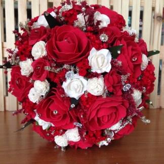 Buchet De Mireasă Din Flori Artificiale Cu Begonia și Trandafiri