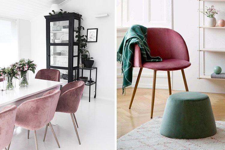 Ahşap ayaklı kadife sandalyeler