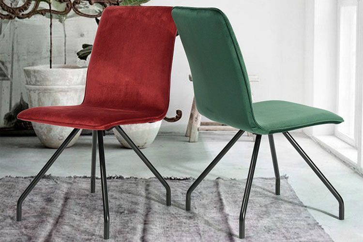 Metal ayaklı kadife sandalyeler