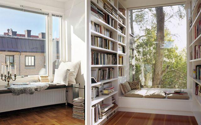 Bir evin okuma köşesini dekore etmenin farklı yolları