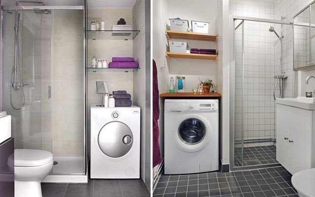 Küçük evler için banyoda yıkayıcı ve kurutucu dağıtımı.