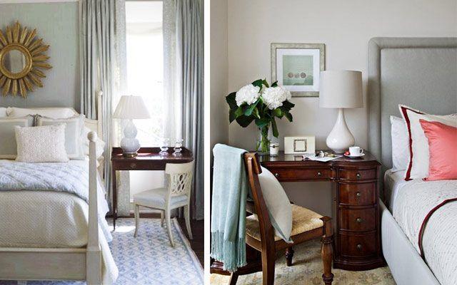 Yatak odasını dekore etmek için yatağın yanında masalar