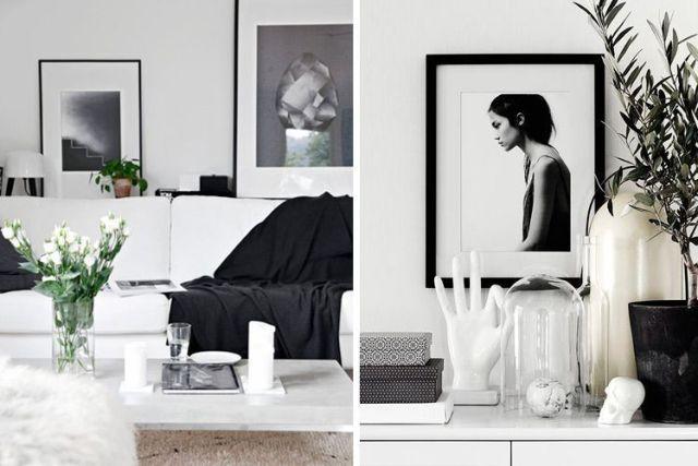 Evde siyah beyaz dekor
