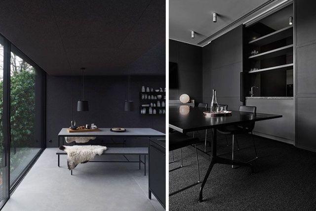 Siyah renkte dekore edilmiş yemek odası