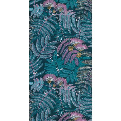 Décor papier peint ALBIZIA Bleu Turquoise