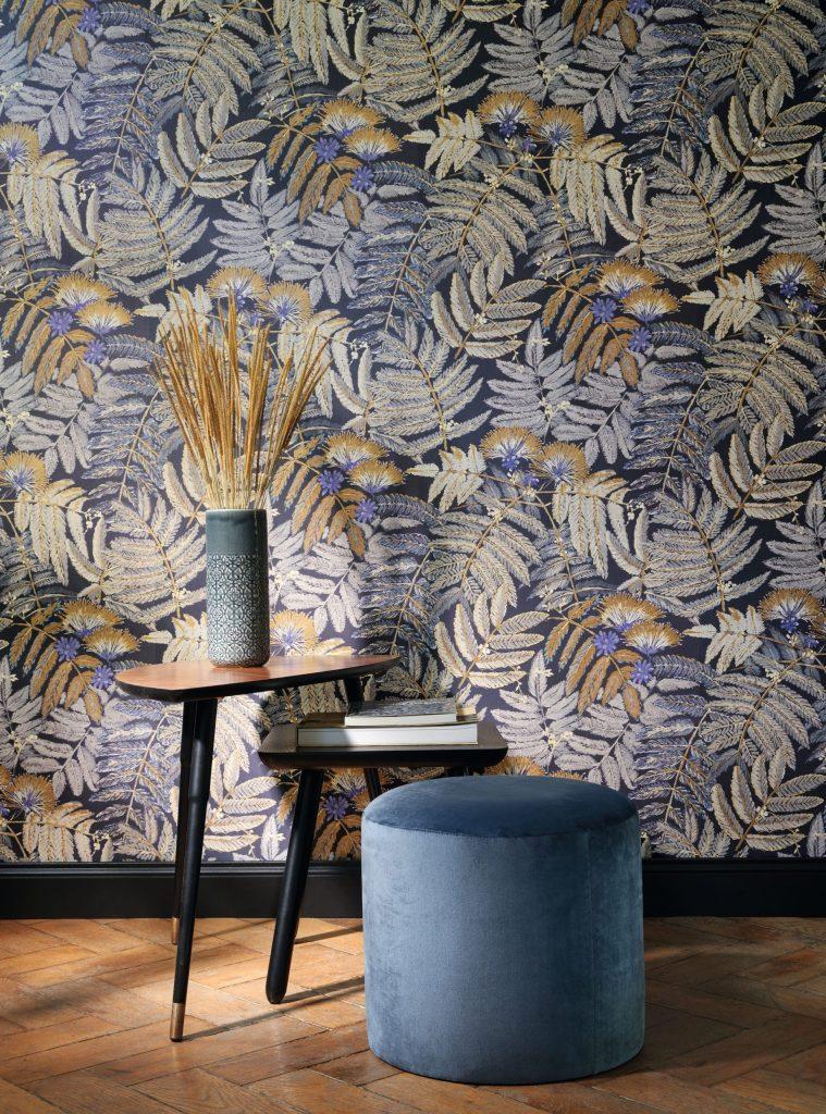 Papier peint floral Albizia Jaune curry et bleu