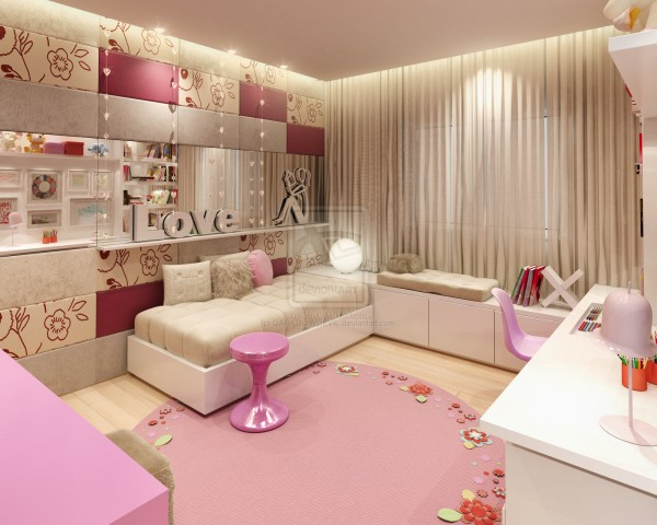 creme and pink interior design ideas for small teenage girls room