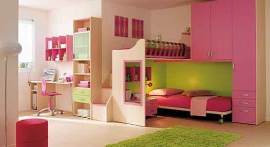 pink and lime interior design ideas for small teenage girls room